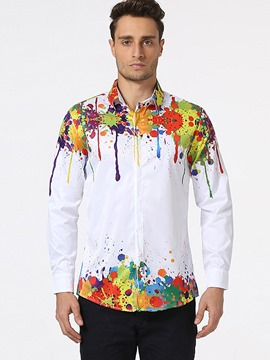 Ericdress Color Block Ink-Painting Casual Men's Shirt