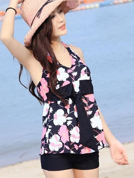 Ericdress Lace-Up Floral Bowknot Tankini Set