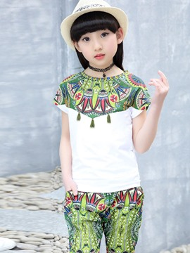 Ericdress Ethnic Floral Tassel-Detail Girls Suit