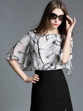 Ericdress Flare Sleeve Printed Blouse