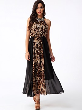 Ericdress Leopard Halter Patchwork Maxi Dress