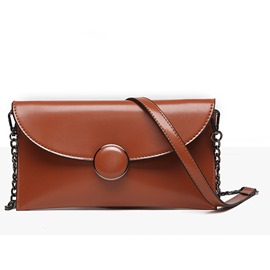 Ericdress Leisure Solid Color Round Buckle Crossbody Bag