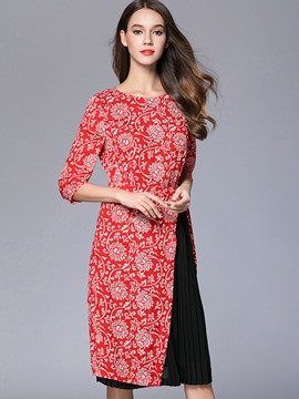 Ericdress Pleated Floral Print Patchwork Casual Dress