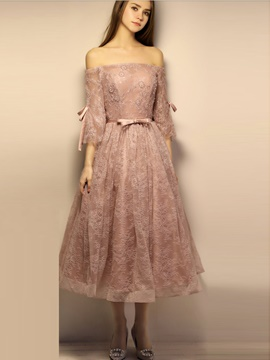 Ericderss A Line 3/4 Sleeve Off The Shoulder Lace Prom Dress In Tea Length