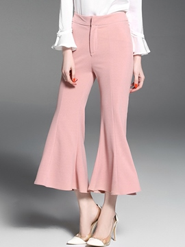 Ericdress High Waisted Pink Flared Women's Pants