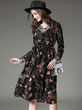 Ericdress Patchwork V-Neck Floral Casual Dress