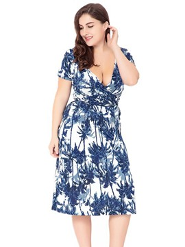 Ericdress Floral Print V-Neck Empire Waist A Line Dress
