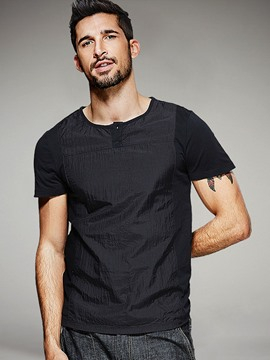 Ericdress Plain Patched Vogue Casual Men's T-Shirt