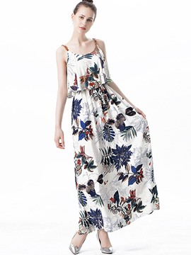 Ericdress Spaghetti Strap Print Pleated Maxi Dress