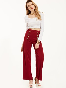 Ericdress U-Shape T-shirt And Wide Legs Pants Suit