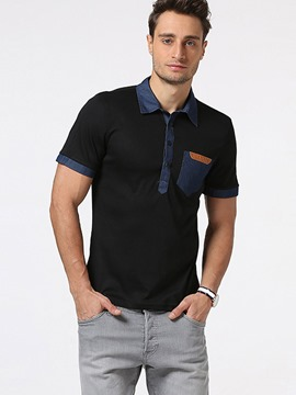 Ericdress Short Sleeve Patched Casual Men's Polo T-Shirt