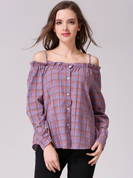 Ericdress Spagettie Strap Plaid Blouse