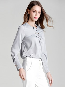 Ericdress Pleated Button Solid Color Blouse