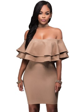 Ericdress Slash Neck Falbala Zipper Bodycon Dress