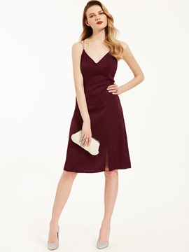 Ericdress Spaghetti Strap V-Neck Backless A-Line Dress
