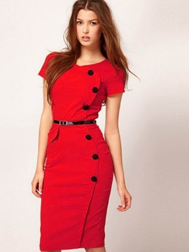 Ericdress Button Patchwork Short Sleeve Sheath Dress