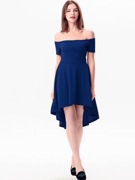 Ericdress Simple Platinum Plated Asymmetrical Casual Dress