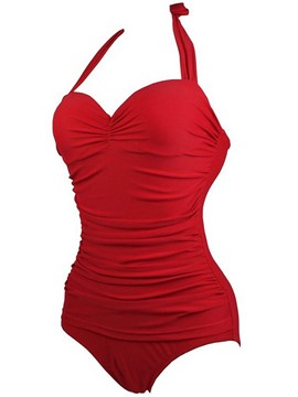 Ericdress Solid Color Pleated Halter One-Piece Swimwear
