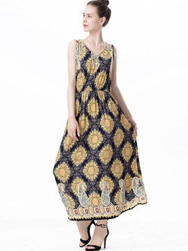 Ericdress Spaghetti Strap Print V-Neck Maxi Dress