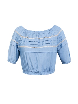 Lantern Sleeve Off-The-Shoulder Hollow Top
