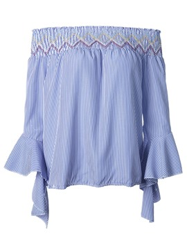 Ericdress Off-Shoulder Ruffle Blouse