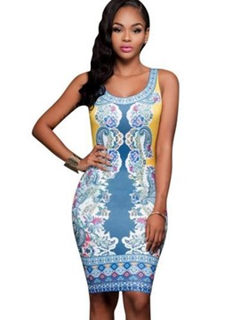 Ericdress Spaghetti Strap Scoop Print Bodycon Dress
