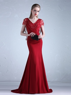 Ericdress Short Sleeve Beaded Mermaid Evening Dress With Court Train