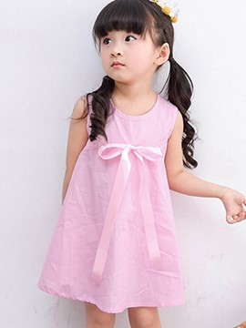 Ericdress Stripe Bowknot Sleeveless Summer Girls Dress