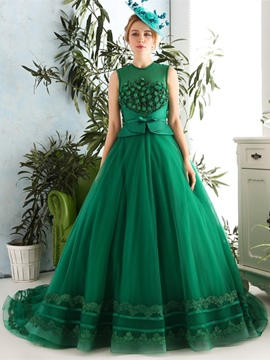 Ericdress Jewel Sashes Beaded Evening Ball Gown With Court Train