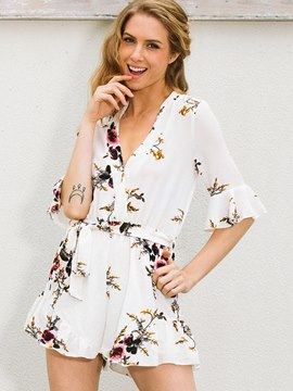 Ericdress V-Neck Flower Print Women's Rompers