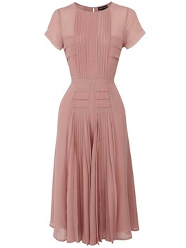 Ericdress Plain Pleated-Detail Back Zipper A Line Dress