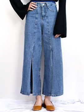 Ericdress High Waisted Denim Wide Leg Women's Jeans