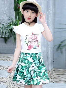 Ericdress Lettered T-Shirt Floral Skirt 2-Pcs Girls Outfit