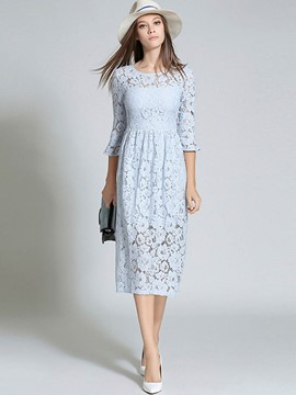 Ericdress Sweet 3/4 Length Flare Sleeve Lace Dress