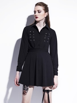 EricdressSingle-Breasted Lace-Up Button Casual Dress