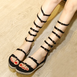 Ericdress Roman PU Cut Out Buckles Flat Sandals