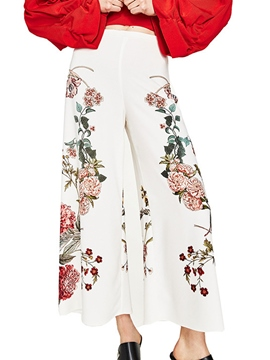 Ericdress High Waisted Wide Leg Flower Print Women's Pants