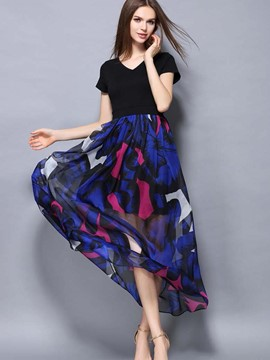 Ericdress Color Block See-Through Back Bow-Tied Maxi Dress