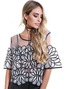 Ericdress See-Through Half Sleeve Stylish Blouse