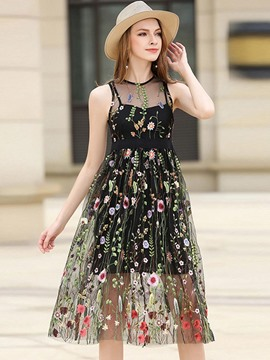 Ericdress Embroidery Appliques See-Through Casual Dress