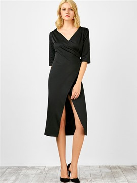 Ericdress Simple V-Neck Split Casual Dress