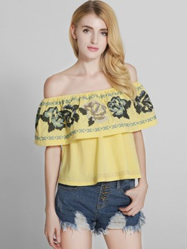 Ericdress Off-Shoulder Floral Embroidery Blouse