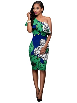 Ericdress One-shoulder Falbala Print Sheath Dress