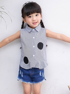 Ericdress Stripe Lapel Single-Breasted Sleeveless Summer Girls Shirt