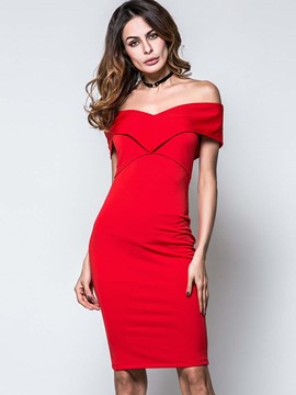 Ericdress Solid Color Slash Neck Pleated Bodycon Dress