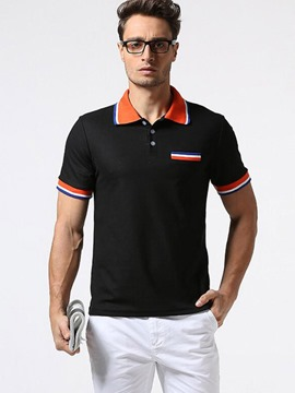 Ericdress Stripe Color Block Casual Polo Men's T-Shirt