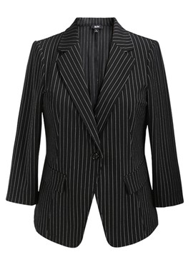 Ericdress Stripe One Button Plus-Size Blazer