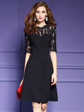 Ericdress See-Through Half Sleeve Patchwork Lace Dress