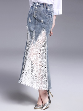Ericdress Lace Denim Patchwork High Waisted Women's Skirts