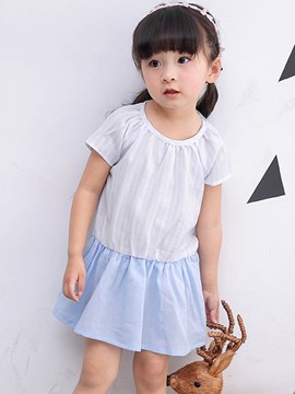 Ericdress Stripe Patchwork Short Sleeve Girls Dress